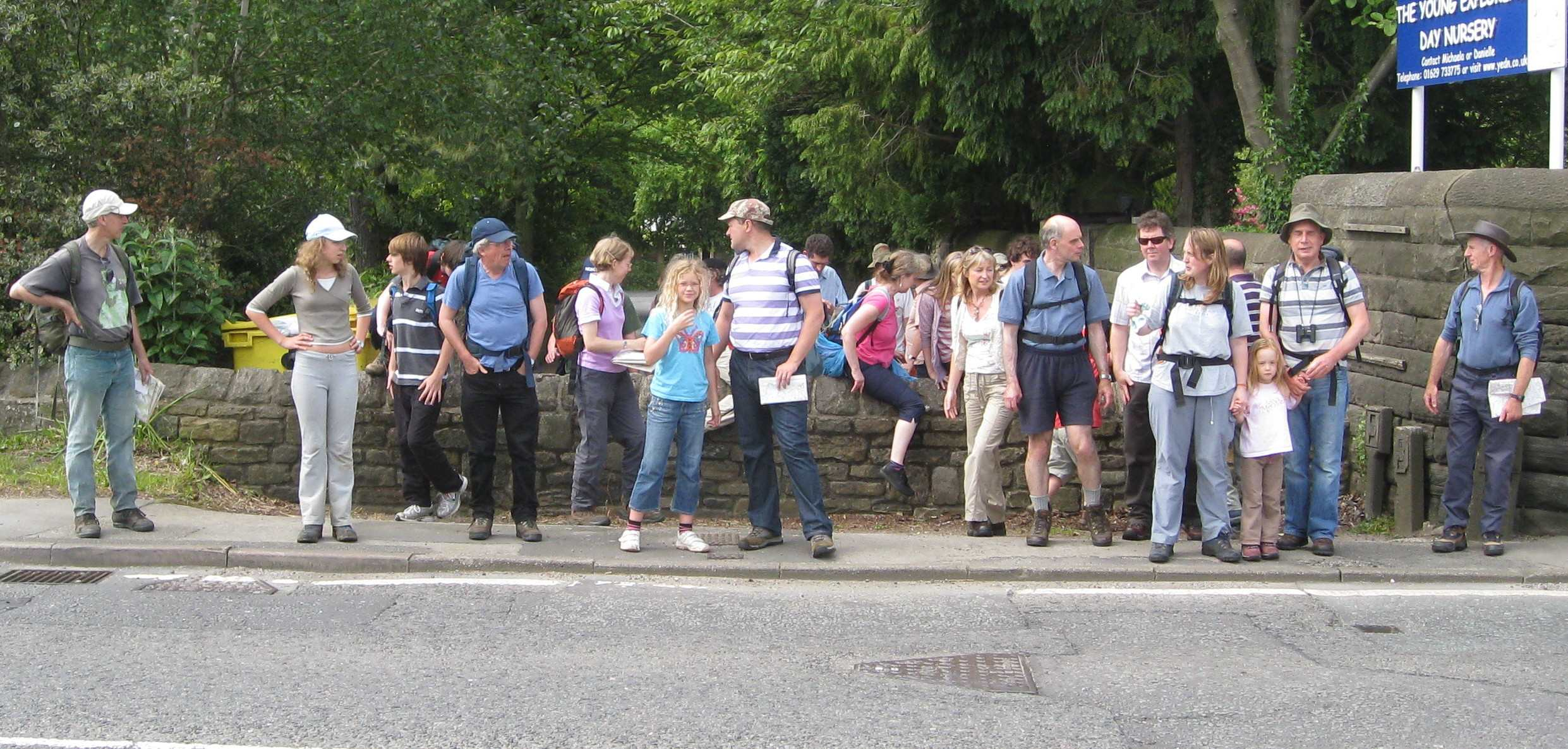 Walkers gathering before an uphill bit!